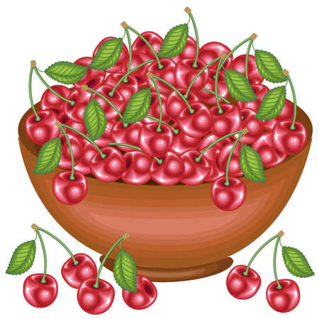 A bountiful harvest. Full bowl of beautiful juicy cherries. Sweet red berries, a source of vitamins and myctoelements. Vector illustration.