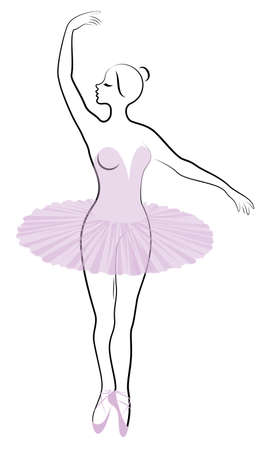 Silhouette of a cute lady, she is dancing ballet. The girl has a beautiful and cute figure. Woman ballerina. Vector illustration.