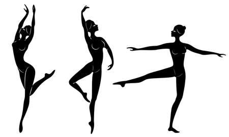 Collection. Silhouette d'une jolie dame, elle danse le ballet. La fille a une belle silhouette mince. Ballerine femme. Jeu d'illustrations vectorielles. Vecteurs