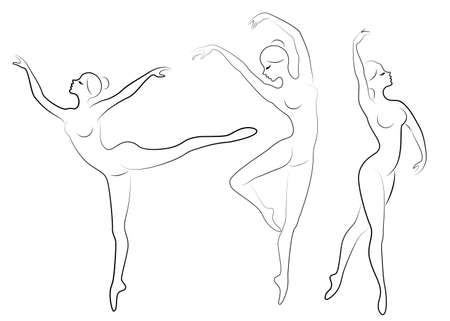 Collection. Silhouette of a cute lady, she is dancing ballet. The girl has a slim beautiful figure. Woman ballerina. Vector illustration set.  イラスト・ベクター素材
