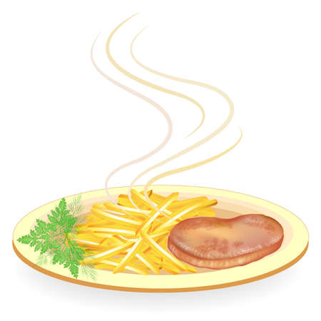 On a plate of hot fried meat steak. Garnish the fried potatoes. Delicious and nutritious food for breakfast, lunch and dinner. Vector illustration. Illustration