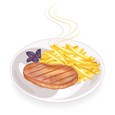 Su un piatto di bistecca di carne fritta calda. Guarnire le patate fritte. Cibo delizioso e nutriente per colazione, pranzo e cena. Illustrazione vettoriale.
