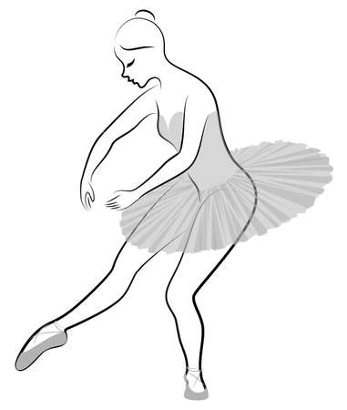 Silhouette of a cute lady, she is dancing ballet. The girl has a beautiful figure. The woman is a young slim and ballet dancer. Vector illustration.