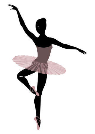 Silhouette of a cute lady, she is dancing ballet. The girl has a beautiful and cute figure. Woman ballerina. Vector illustration. Ilustração