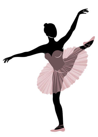 Silhouette of a cute lady, she is dancing ballet. The girl has a beautiful and cute figure. Woman ballerina. Vector illustration. Ilustracja