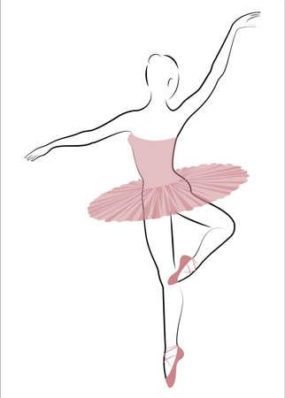 Silhouette d'une jolie dame, elle danse le ballet. La fille a une silhouette belle et mignonne. Ballerine femme. Illustration vectorielle.