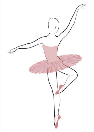 Silhouette of a cute lady, she is dancing ballet. The girl has a beautiful and cute figure. Woman ballerina. Vector illustration. Ilustrace