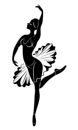 Silhouette of a cute lady, she is dancing. The girl has a beautiful figure. The woman is a young and slim ballerina. Vector illustration.