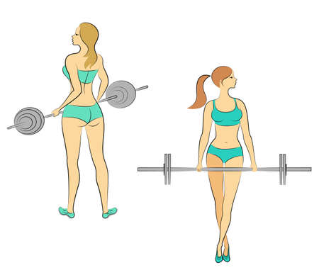 Collection. Silhouettes of lovely ladies. Girls are engaged in fitness, raise the bar. Women are young and slender. with beautiful figures. Vector illustration set. Illustration
