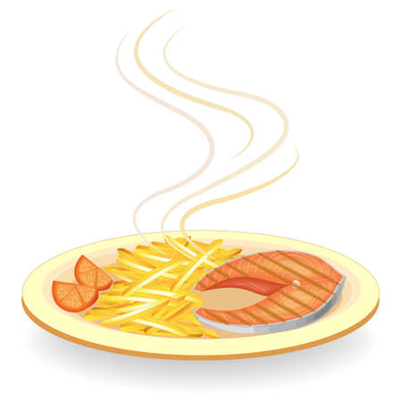 A steak of red fish grilled on a plate. Garnish hot fried potatoes and tomato slices. Tasty, delicious and nutritious food. Vector illustration. Illustration