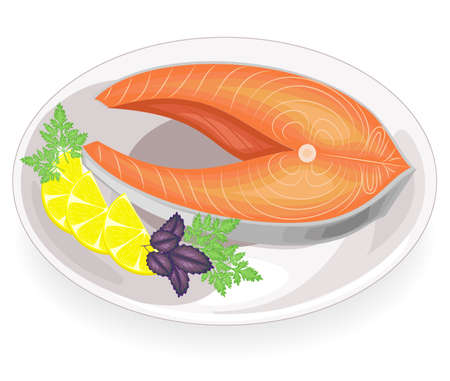A steak of red fish grilled on a plate. Garnish lemon, parsley, dill and basil. Tasty, delicious and nutritious food. Vector illustration. Ilustração