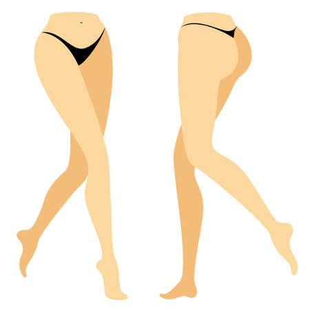 Silhouette figure of a lady in a bikini. Slender legs of a young girl. The woman is coming. Feet well-groomed, beautiful silky skin. Front and back view. Vector illustration. Illustration