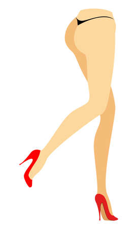 Silhouette figure of a lady in a bikini. Slender legs of a young girl in red shoes. The woman is running. Feet well-groomed, beautiful silky skin. Vector illustration.