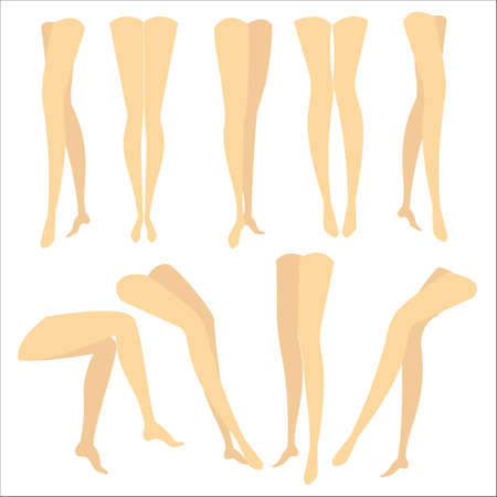 A colorful picture with silhouettes of slender beautiful female feet. Different forms of legs when the girl is standing, sitting, walking. Vector illustration. 写真素材 - 122020303