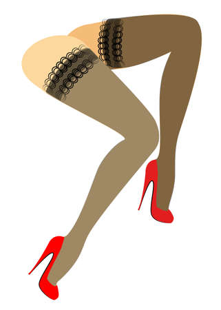 Silhouette figure of a lady in a bikini. Slender beautiful female legs, dressed in stockings. The womansits in a red high-heeled shoes. Vector illustration.