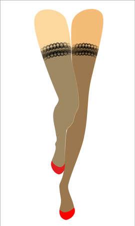 Silhouette von schlanken schönen Damenbeinen. Das Mädchen steht. Die Frau trägt modische Strümpfe und rote Stöckelschuhe. Vektor-Illustration.