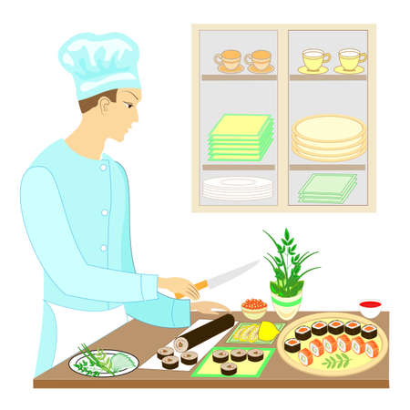 Color picture. A man cook, he prepares delicious dishes of Japanese national cuisine. He cuts knives. On the table on a beautiful dish, seafood, sushi, rolls, caviar. Vector illustration. Ilustração