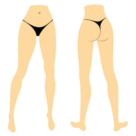 Silhouette figure of a lady in a bikini. Slender legs of a young girl. The woman is coming. Feet well-groomed, beautiful silky skin. Front and back view. Vector illustration.