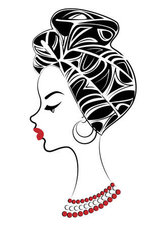 Silhouette of a head of a sweet lady. A bright shawl and a turban are tied on the head of an African-American girl. The woman is beautiful and stylish. Vector illustration. 일러스트
