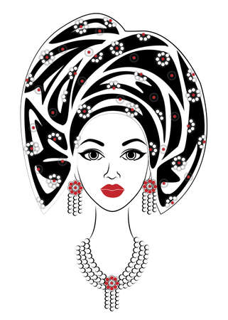 Silhouette of a head of a sweet lady. A bright shawl and a turban are tied on the head of an African-American girl. The woman is beautiful and stylish. Vector illustration. Ilustracja