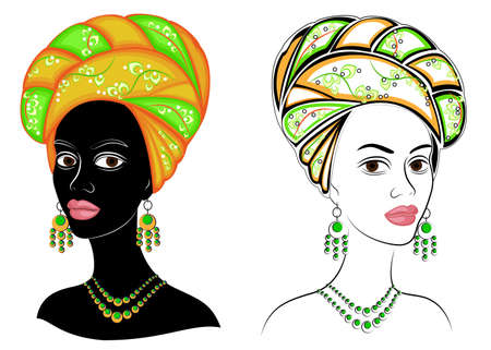 Head of the sweet lady. On the head of an African-American girl is a bright bright scarf and turban. The woman is beautiful and stylish. Vector illustration set.  イラスト・ベクター素材