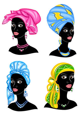 Collection. Silhouette of a head of a sweet lady. A bright shawl, a turban is tied on the head of an African-American girl. The woman is beautiful and stylish. Set of vector illustrations.
