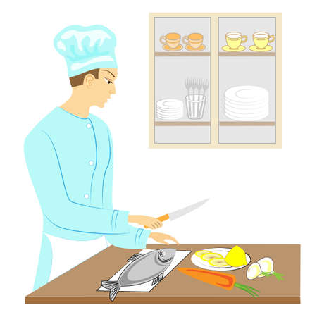 A young man. The guy cleans the fish, cooks it with vegetables. He's a professional cook. Vector illustration.