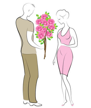 Romantic relationship of happy lovers. A young man and a girl on a date. The guy gives the lady a beautiful bouquet of flowers, scarlet roses. Vector illustration.