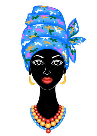 The head of a nice lady. On the head of an African American girl is tied a bright handkerchief, a turban. The woman is beautiful and stylish. Vector illustration. Banque d'images - 122020680