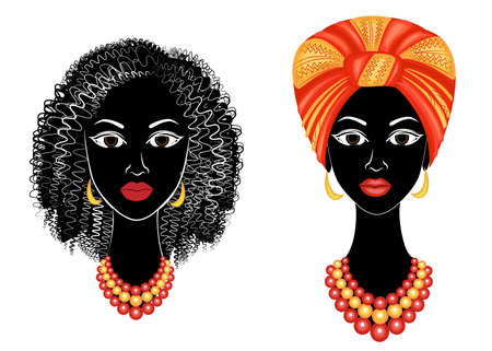 Collection.Profile the head of the sweet lady. African-American girl with a beautiful hairdo. The lady wears a turban, a national headdress. Set of vector illustrations.