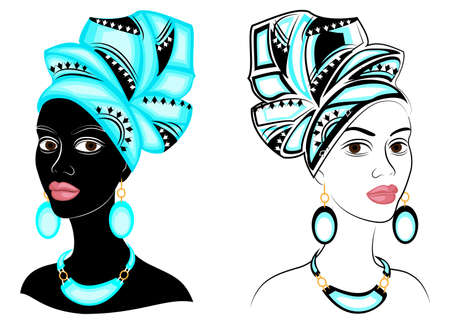 Collection. Head of the sweet lady. On the head of an African-American girl is a bright bright scarf and turban. The woman is beautiful and stylish. Vector illustration set.