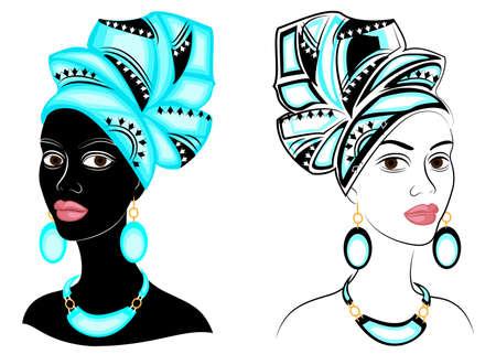Collezione. Capo della dolce signora. Sulla testa di una ragazza afroamericana c'è una sciarpa e un turbante luminosi e luminosi. La donna è bella ed elegante. Insieme dell'illustrazione di vettore.