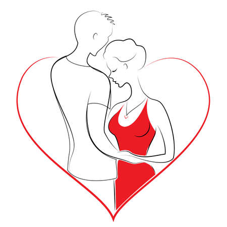 Romantic relationship of a couple in love. A young man is hugging a sweet lady. The girl and the guy are happy. Frame in the form of heart. Vector illustration.