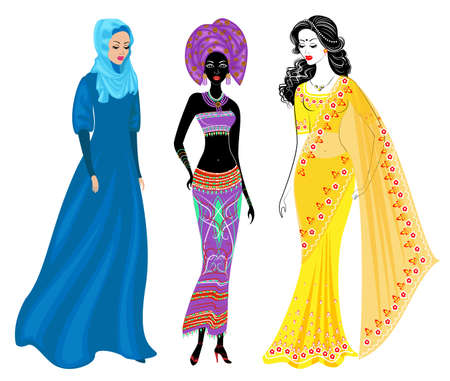 A collection of beautiful ladies. A Muslim, an African-American girl and an Indian woman. National clothes. Set of vector illustrations. Illusztráció