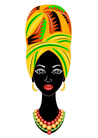 Head of a sweet lady. A bright shawl and a turban were fixed on the head of the African American girl. The woman is beautiful and stylish. Vector illustration. Çizim
