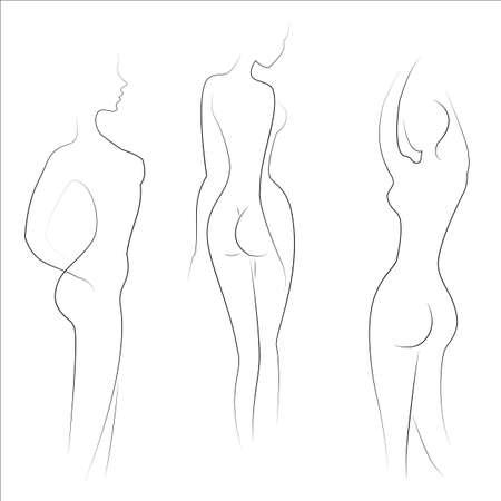 Silhouetten von schönen Damen. Schöne Mädchen stehen in verschiedenen Posen. Die Frauenfiguren sind nackt, feminin und schlank. Vektor-Illustration.