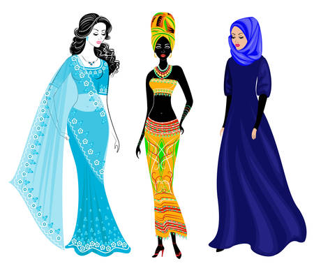 A collection of beautiful ladies. A Muslim, an African-American girl and an Indian woman. National clothes. Set of vector illustrations. Ilustração