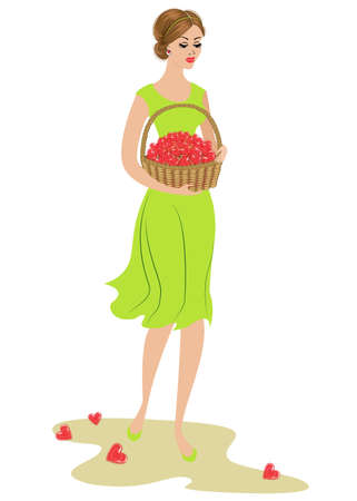 A sweet lady is carrying a basket of sweets. Sweet lollipops in the form of heart. Valentine's Day gift. The girl is young and beautiful. Vector illustration.