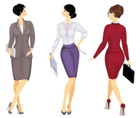 Collection. Femme d'affaires tenant un dossier. Fille d'affaires dans un beau costume strict. Une femme se lève et marche en talons hauts. Jeu d'illustrations vectorielles. Vecteurs