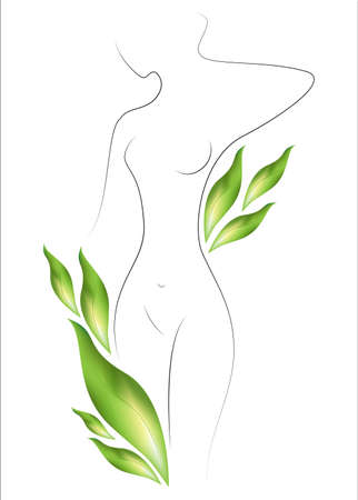 Silhouette of a beautiful lady. The girl is slim and elegant. Near it there are green leaves. Suitable for cosmetics advertising. Vector illustration.