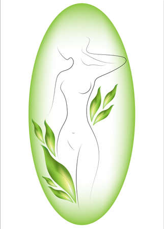 Silhouette of a beautiful lady. The girl is slim and elegant. Near it there are green leaves and a green background. Suitable for cosmetics advertising. Vector illustration. Illustration