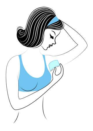 Profil d'une belle dame. La fille fait l'épilation à la cire des aisselles de manière indépendante. Élimine l'excès de poils. Illustration vectorielle.