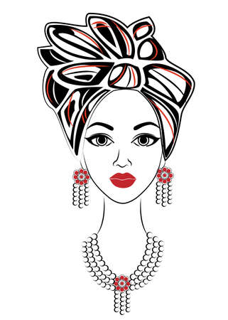 Silhouette of a head of a sweet lady. A bright shawl and a turban are tied on the head of an African-American girl. The woman is beautiful and stylish. Vector illustration.