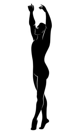 Silhouette of a slim guy, male ballet dancer. The dancer has a beautiful slim figure, a strong body. Vector illustration.