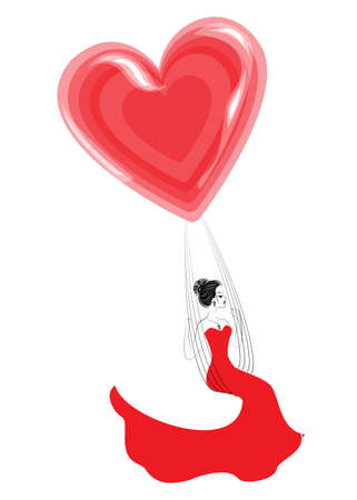 Lovely young lady in a red dress. A girl sits on a swing and flies on a balloon in the shape of a heart. Vector illustration. Illustration