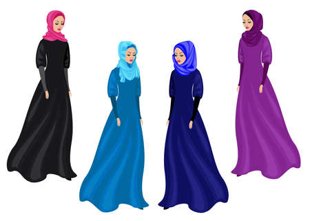 Collection. Silhouette of a sweet lady. The girl wears traditional Muslim women's clothing, hijab. Young and beautiful woman. Vector illustration set.