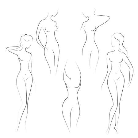 Silhouettes of lovely ladies. Beautiful girls stand in different poses. The figures of women are nude, feminine and slender. Vector illustration.