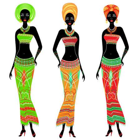Una colección de hermosas damas afroamericanas. Las niñas tienen ropas brillantes y un turbante en la cabeza. Las mujeres son jóvenes y delgadas. Conjunto de ilustración vectorial.
