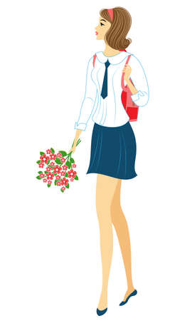 A young schoolgirl goes to school. The girl is very nice, she has a good mood, a smile. The lady carries a bouquet of flowers and a briefcase with textbooks. Vector illustration.