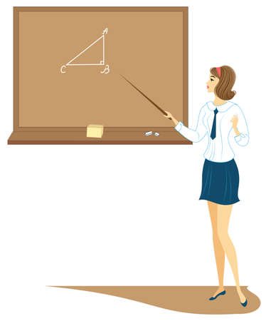 Young schoolgirl in class. The girl is standing near the blackboard and is telling the assignment. The lady is very nice. Vector illustration.